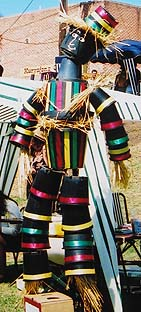 Scarecrow made from plastic pots