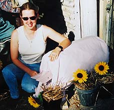 Julie with her pig scarecrow