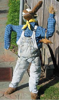 A dressed up rabbit scarecrow