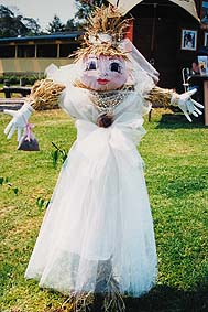 Scarecrow in a wedding gown